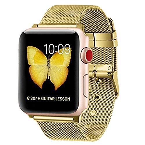 WAOTIER für Apple Watch 38mm Armband Milanese Armband mit Metall Verschluss Edelstahl Mesh Ersatzband für Apple Watch 38mm 40mm Series 1/2/3/4 Armband Sommer Armband für Frauen und Männer (Gold) -