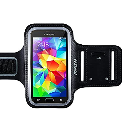 Samsung Galaxy S7 S6 S5 Armband, (with Reflective Strap + Key Holder) Mpow Sport Running Armband for Samsung Galaxy S5/S6/S7 S6 Edge (5.1 inch) Adjustable Size, Safe Design, Suitable for Biking, Running, Jogging, Walking, Hiking, Workout, Exercise