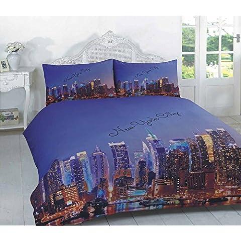 Casa TLC 3d ciudad de Nueva York Manhattan Skyline fotográfico edredón y funda de almohada juego de cama individual doble King SuperKing tamaño, 50% algodón/50% poliéster,