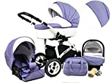 +++ DISCOUNT Raff White Lux System stroller pushchair buggy, car seat stroller system + diaper bag + rain cover + insect repellent
