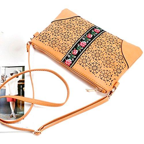 BZLine® Frauen Handtaschen Schulter Messeng Blumen Tasche Hippie Stickerei Tasche Gelb