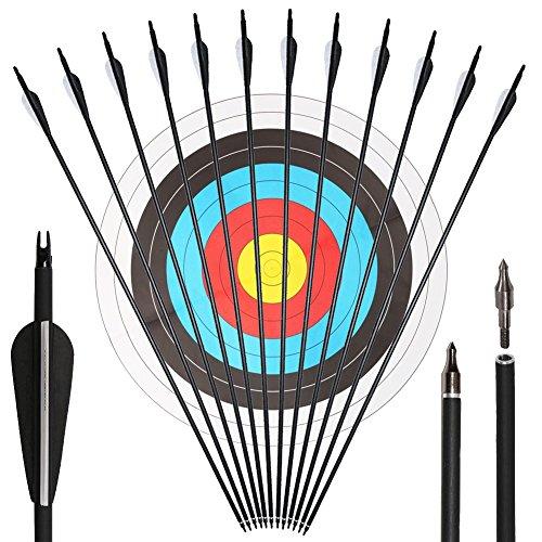 Pfeile für bogenschießen Carbonpfeile 30 Zoll 500 Sp für Recurvebogen und Compoundbögen Bogensport 12 Stück mit Zielscheiben