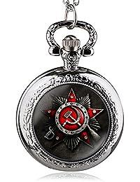 Silver : 2017 Vintage Antique Soviet Union Flag Theme Bronze Quartz Pocket Watch Pendant Necklace Fob Watch High...