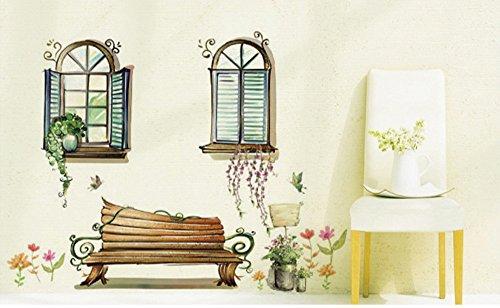 """ufengke® """"Fuera de la Ventana"""" Banco y Vid de la Flor Pegatinas de Pared, Sala de Estar Dormitorio Removible Etiquetas de la pared / Murales"""