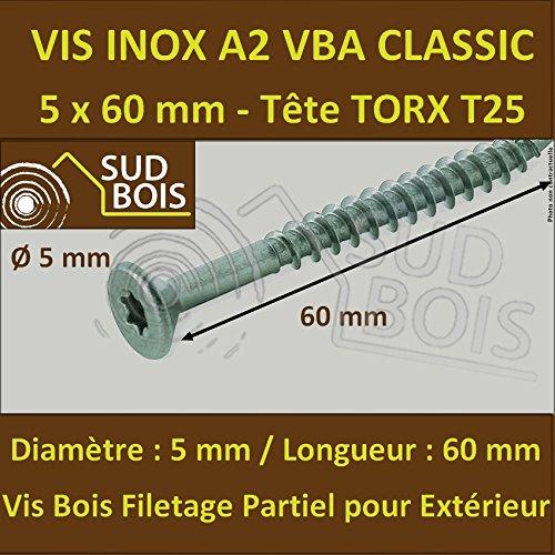 1600 Vis 5x60mm Inox A2 Classic Tête Torx pour Terrasse + 1 embout offert