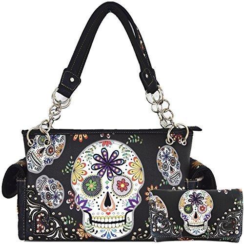 Western Frauen Zuckerschädel-Tag der Toten Halloween-Geldbeutel-Handtaschen One Size Schwarz