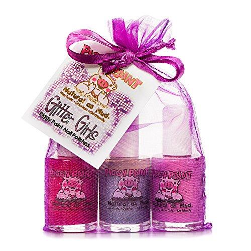 Piggy Paint, Nagellacke, Glitter-Girls-Geschenkset, 3 Flaschen, je 15 ml