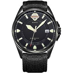 BUREI® Men's Luminous Army Style Outdoor Sports Date Quartz Watch with Canvas Black Strap-Black Silver Dial