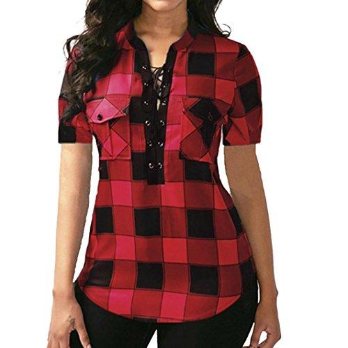 OSYARD Damen Plus Größe Criss Cross Frontgitter Kurzarm Bluse Pullover TopsShirt(EU 46/XL, Rot) (Designer-kleidung Großhandel)