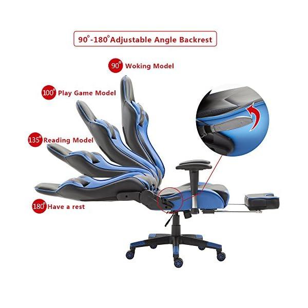 Storm Racer ergonómico Gaming Chair Silla de Respaldo Alto Silla de Oficina con reposapiés Ajuste reposacabezas y Apoyo Lumbar Silla de Racing (Azul -S)