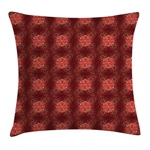 VTXWL Burgundy Throw Pillow Cushion Cover, Flourishing Nature Garden Inspired Flowers Asian Pattern Psychedelic Look, Decorative Square Accent Pillow Case, 18 X 18 inches, Burgundy Coral Tan -