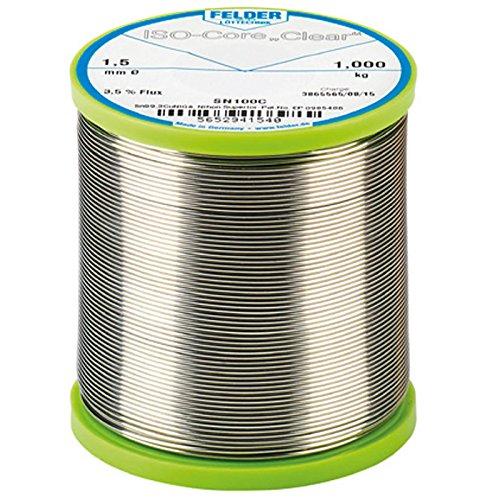 FELDER ISO-Core 'Clear' Sn100Ni+ Weichlot Bleifrei Lötdraht mit Flussmittel 2,5% VPE: 1000g Spule, Größe:1.0 mm -