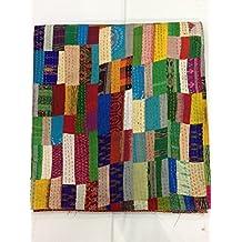 Bhagyoday - Colcha reversible, diseño indio, seda, estilo vintage, multicolor, 228,6 x 274,3 cm