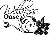 GRAZDesign 650254_30_070 Wandtattoo Wellness Oase mit Blume | auf Spiegel - Wand - Fliesen klebbar | Fliesentattoo im Badewannen-Bereich (42x30cm//070 schwarz)