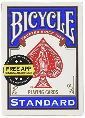 1 mazzo bicycle blu + istruzioni per fare 10 giochi di prestigio,trucchi di magia