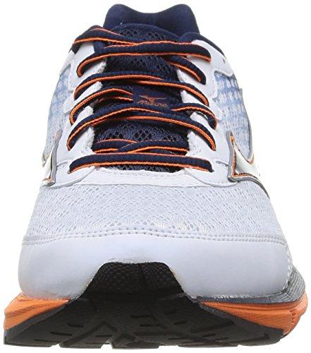 Mizuno Wave Rider 18, Chaussures de running entrainement homme Blanc (white/dress Blues/vibrant Orange)