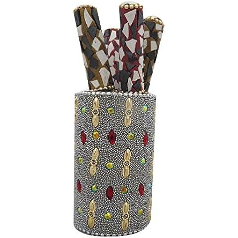 vendimia olla pluma estilo con 4 unidades pluma indio casa decoración decorativo pluma soporte tapa diseñador decoración moldeada lac titular de la pluma de material