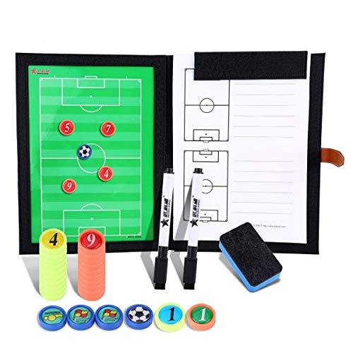 BizoeRade Professional Fußball Taktikmappe Taktiktafel Fußball Coach-Board mit Stifte, Radiergummi, Aufbewahrungstasche (Fußball-zubehör)
