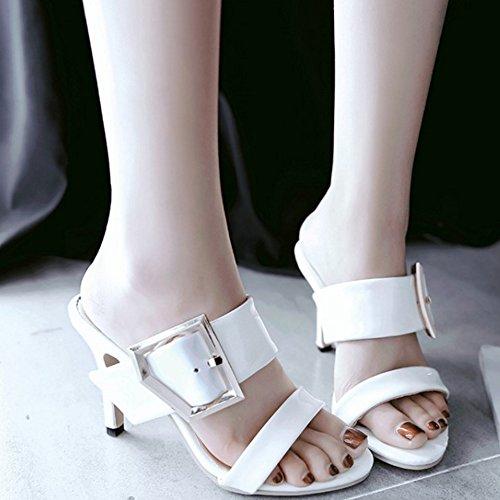 TAOFFEN Damen Mode Schlupfschuhe Open Back High Heel Pantoffelns Sandalen Weiß