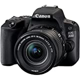 Canon EOS 200D Digitale Spiegelreflexkamera (24,2 Megapixel, 7,7 cm (3 Zoll) Display, APS-C CMOS-Sensor, WLAN mit NFC, Full-HD, DIGIC 7) Kit inkl. EF-S 18-55mm 1:4,0-5,6 IS STM schwarz