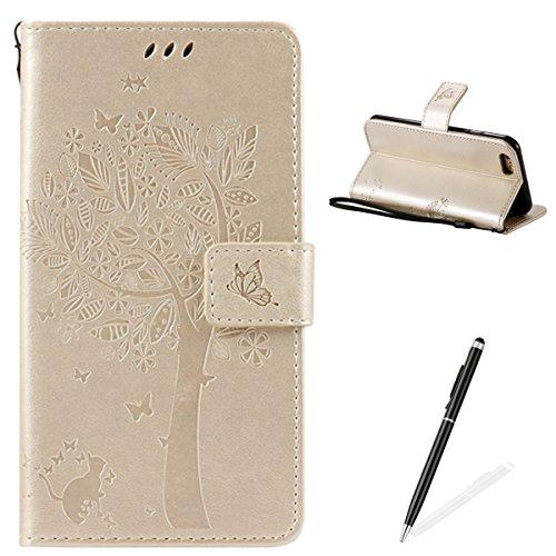 Apple iPhone 6/6S 4.7 Custodia, Feeltech Sbalzato Albero Gatto Farfalla Modello Fiore Progettazione [Stylus Pen] Per il coperchio Apple iPhone 6/6S 4.7 Case, Elegante Cuoio dellunità di Elaborazione  Oro