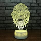 3D Luci Notturne Creativo 3D Led Usb 7 Colori Che Cambiano Visione Lion Modeling Lampada Da Tavolo Animal Atmosphere Baby Sleep Night Lights Fixture Decor