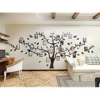 Alicemall 3D Wall Stickers Photo Frames FamilyTree Wall Decal Easy to Install &Apply DIY Photo Gallery Frame Decor Sticker Home Art Decor (Black Black)