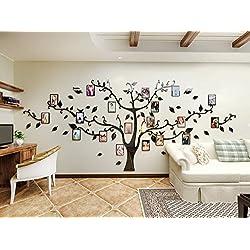 Alicemall Sticker Mural Arbre Photo Stickers Salon Décoration de Maison Autocollant Mural (Pattern 2(Branches noires et feuilles noires))