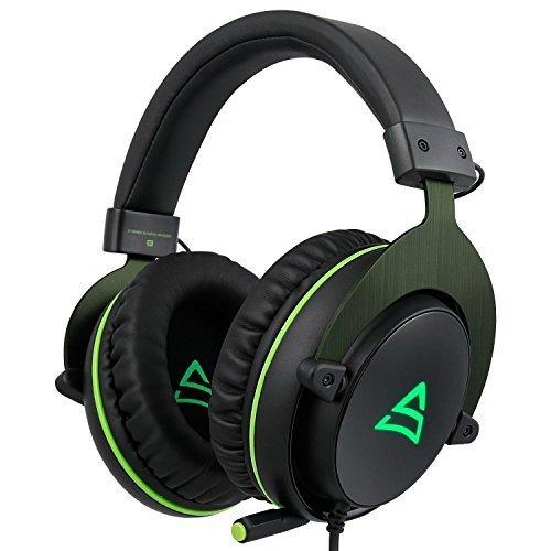SUPSOO G817 Sonido estéreo envolvente Iluminación LED Auriculares para auriculares Auriculares con cable para PC Gamers con micrófono Cancelación de ruido y control de volumen (negro y verde)
