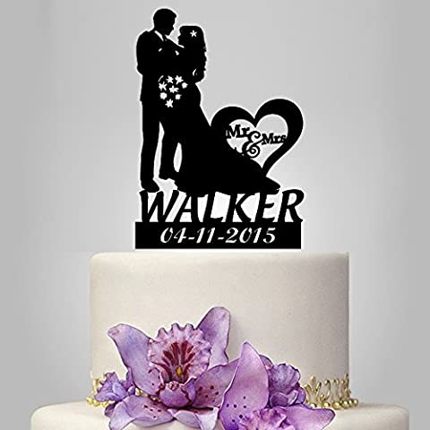 Custom Cake Topper Bride and Groom Silhouette, Acrylic, Mr and Mrs by buythrow cake topper
