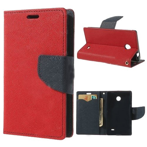 Acm Wallet Diary Flip Case For Nokia X Android Mobile Multi-Color Cover-Red With Dark Blue Inside  available at amazon for Rs.399