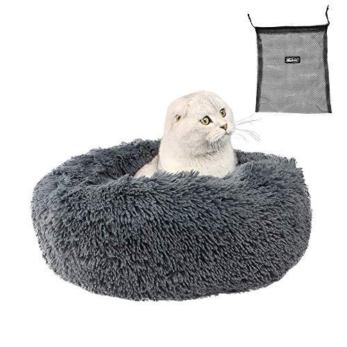 Morbida cuccia per gatti e cani di piccola e media taglia, cuscino rotondo, cuccia portatile per cuccioli di cane o gatto, divano letto a ciambella, letto calmante e morbido