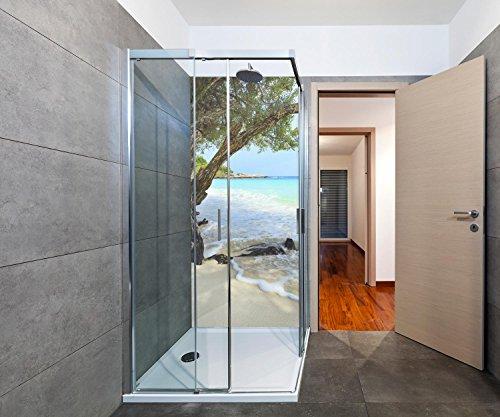 duschwand plexiglas wandmotiv24 Duschrückwand Ruhiger und friedlicher Strand. Provinz Rayong Duschwand Design 90 x 200cm (B x H) - Plexiglas 3mm, Fugen