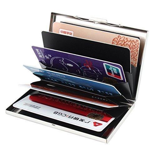 Kinzd® Ultra dünn Aluminum Metal Wallets - RFID-Blocking-Kreditkarte-Mappen-Halter für Männer & Frauen - Best Karten-Schutz mit PVC 6 Slots und Durable Edelstahl Latch