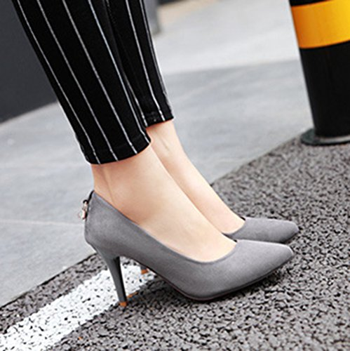 Aisun Damen Elegant Strass Nubukleder Pointed Toe Pumps Grau