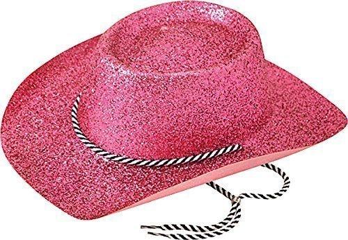 Unisex Erwachsene Fancy Dress Party mit Kopfbedeckungen Zubehör Western Cowboys Glitzer Hat Gr. Einheitsgröße, Rosa – Pink