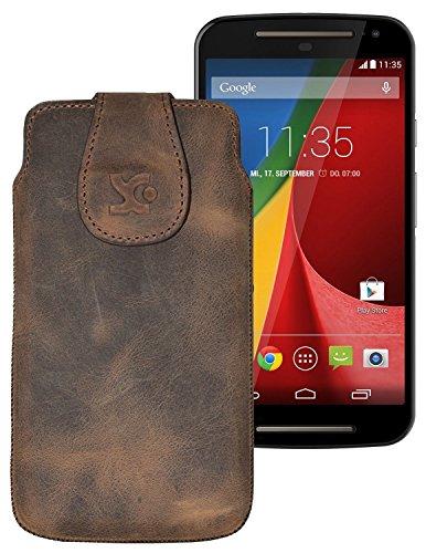 Suncase Tasche für / Motorola Moto G 4G LTE (2. Gen.) / Leder Etui Handytasche Ledertasche Schutzhülle Case Hülle / in antik-braun