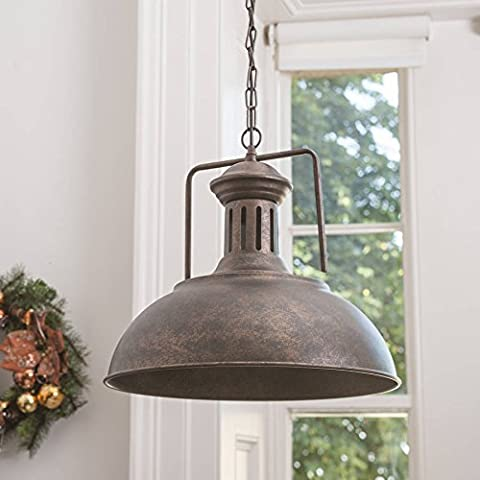 Farmhouse Vintage Rustic Brown Hanging Pendant Barn Light with Adjustable Chains Ceiling Lamp
