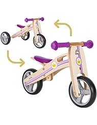 BIKESTAR® Original Premium Mini Kinderlaufrad (Kombination 2 und 3 Rad) für freche Zwerge ab ca. 18 Monaten ★ 2 in 1 Natur Holz Edition ★ Kleine Prinzessin