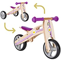BIKESTAR Vélo Draisienne Enfants et Tricycle en Bois pour Garcons et Filles de 18 Mois ★ Vélo sans pédales Mini (Combinaison 2 et 3 Roues) évolutive 7 Pouces ★