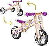BIKESTAR Mini Kinder Laufrad Holz Lauflernrad mit DREI Rädern für Jungen und Mädchen ab 1 – 1,5 Jahre ★ 2 in 1 Kinderlaufrad ★ Kleine Prinzessin