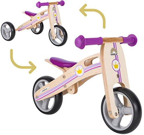 BIKESTAR Vélo Draisienne Enfants et Tricycle en Bois pour Garcons et Filles de 18 Mois ★ Vélo sans pédales Mini (Combinaison 2 et 3 Roues) évolutive 7 Pouces ★ Lilas