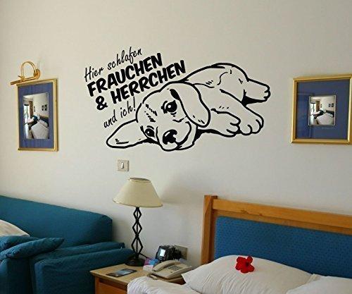 Wandtattoo Hier schlafen Frauchen Herrchen und ich Dog Hund Sprüche Tiere sticker Aufkleber Schlafzimmer 1B058, Farbe:Braun Matt;Breite vom Motiv:100cm