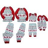 Familie Weihnachten Pyjama Set Weihnachts Schlafanzüge Rentier Drucken Lange Ärmel Oberteile Hose (7-8 Jahre, Kind)