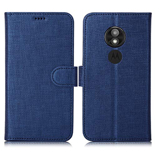 Eastcoo Motorola Moto E5 Play Hülle Schutzhülle Tasche Handyhülle Cover PU Leder Folio Flip Dünn Premium klappbares Book Case [Mit Standfunktion][ Magnetverschluss] [Kartenfach] [Wallet](Blue)