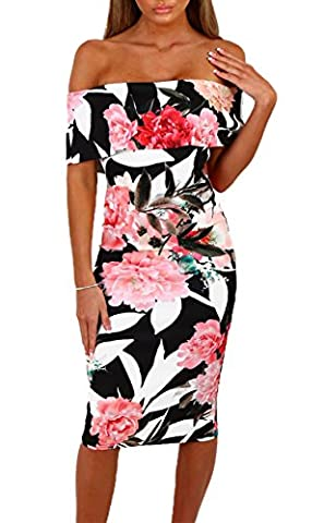 Happy Sailed Ladies Off Shoulder Floral Bardot Bodycon Midi Dress Black Medium