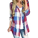 ❤️ Manga Larga de Cuadros de Mujer,Botón de Color a Juego Casual Camisa Suelta Blusa Arriba Absolute