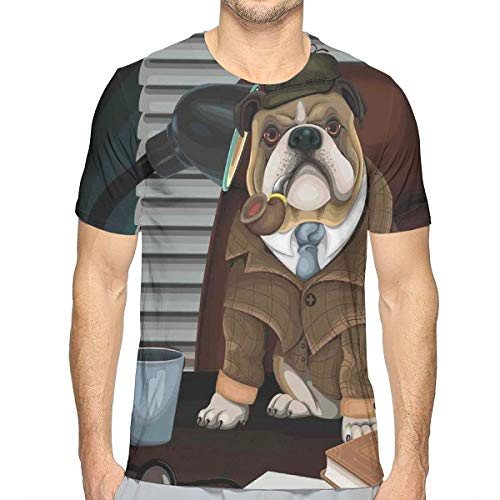 3D Printed T Shirts,Traditional English Detective Dog with A Pipe and Hat Sherlock Holmes Image S