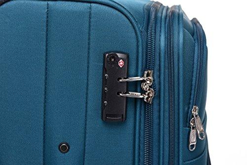 BEIBYE 8009 TSA Schloß Stoff Trolley Reisekoffer Koffer Kofferset Gepäckset (Türkis, Set) - 5