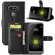 Supremery - LG G5 Case Housse de protection Étui [BLACK] pour G5 Smartphone Flip Cover